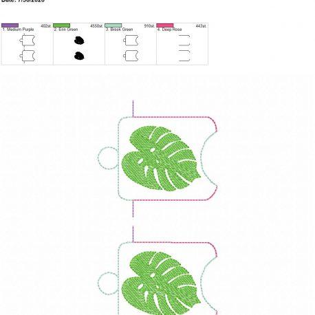 Monstera Leaf sanitizer holder eyelet 5×7 grouped