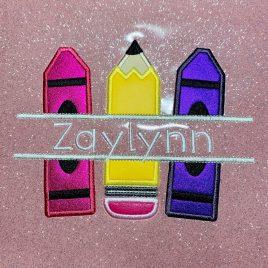 School Supplies Split Applique 5×7 & 6×10 digital embroidery design