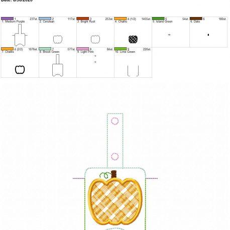 Plaid applique pumpkin Sanitizer holder snap tab 5×7