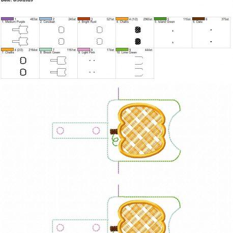 Plaid applique pumpkin Sanitizer holder snap tab 5×7 grouped
