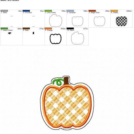 Plaid applique pumpkin book band 4×4