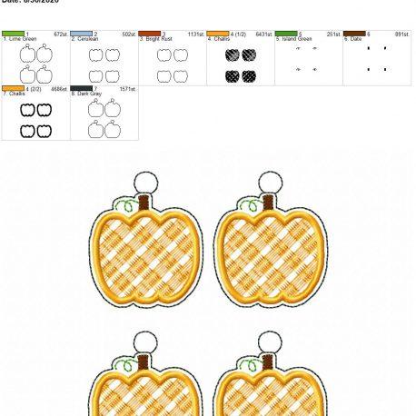 Plaid applique pumpkin eyelet 5×7 grouped