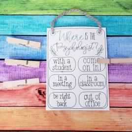 ITH – School Psychologist Door Hanger – 3 sizes – Digital Embroidery Design