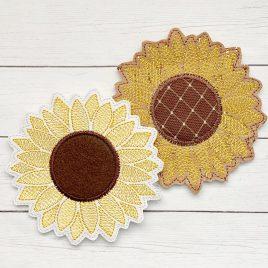 ITH Sunflower Applique Coaster 4×4 – DIGITAL Embroidery DESIGN
