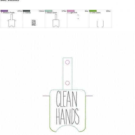 Clean Hands Sanitizer holder snap tab 5×7