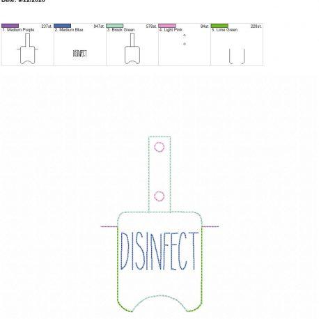 Disinfect Sanitizer holder snap tab 5×7