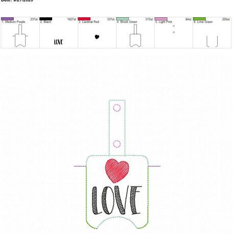 Love Sanitizer holder snap tab 5×7