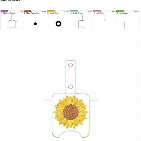 Sunflower Sketch Sanitizer holder snap tab 5×7