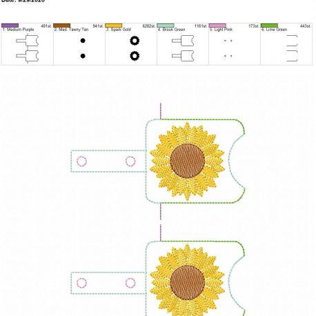 Sunflower Sketch Sanitizer holder snap tab 5×7 grouped