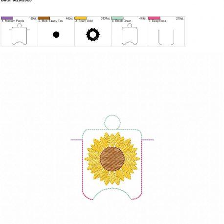 Sunflower Sketch sanitizer holder eyelet 4×4