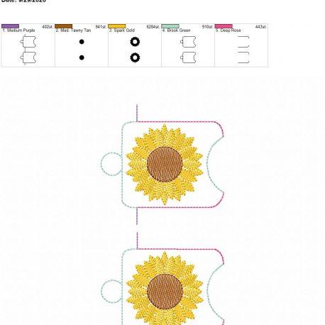 Sunflower Sketch sanitizer holder eyelet 5×7 grouped