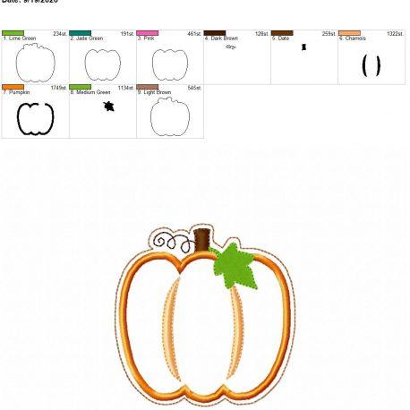 pumpkin applique coaster 4×4